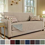 Gorilla Grip Original Slip Resistant Sofa Slipcover Protector, Seat Width Up to 70'' Suede-Like, Patent Pending, 2'' Straps/Hook, Couch Cover for Kids, Dogs, Pets (Sofa: Taupe)