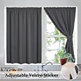 dark grey curtains 90 x 90 Blackout Blinds Pleated Window Shades - Draped Velcro Window Treatment Curtain Drapes Thermal Insulated with 2 tiebacks for Loft/Rent House/Bedroom, Wide 40 x Long 45 inch Per Panel, Grey, 2 Pcs