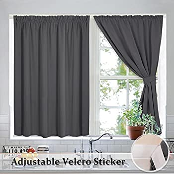 Blackout Blinds Pleated Window Shades   Draped Velcro Window Treatment  Curtain Drapes Thermal Insulated With 2