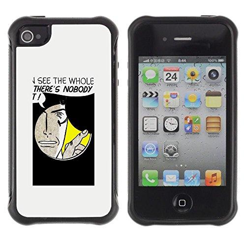 iPhone 4 / iPhone 4S , Hole Spy Comic Cartoon Art Face Quote Man