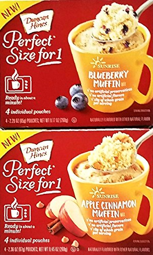 Pack of 2 Perfect Size For 1 Mug Muffin Mixes 1 Apple Cinnamon Muffin Mix, 1 Blueberry Muffin Mix by Duncan Hines