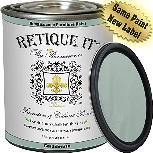 Renaissance Chalk Finish Paint - Celadonite 1 Pint (16oz) - Chalk Furniture & Cabinet Paint - Non Toxic, Eco-Friendly, Superior Coverage