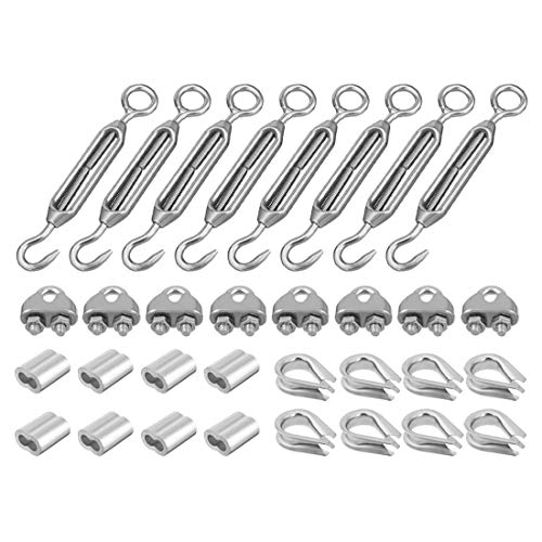ZCHXD Wire Rope Aluminum Sleeve Clip Thimble M6 Thread Hook Eye Turnbuckle Hardware Kit 8Sets