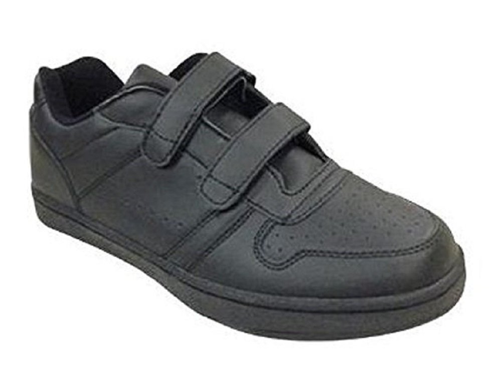 Mens Or Womens Leather Sneaker Shoe with Hook & Loop Closure-Wide Width Mens 10 Womens 12|Black