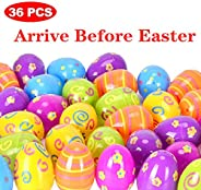 Easter Eggs 36pcs by Hoepaid, 2020 New Fillable Printed Plastic Easter Eggs Assorted Color,2.5 Inch Bulk Easter Basket Stuff