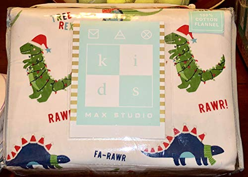 Price comparison product image Max Studio Kids Christmas Dinosaurs Cotton Flannel Sheet Set - Twin Size (All Cotton Flannel)