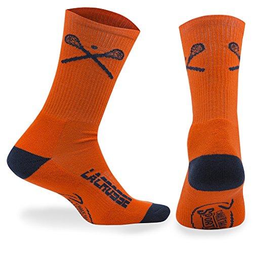 ChalkTalkSPORTS Athletic Half Cushioned Lacrosse Crew Socks | Mid Calf | Crossed LAX Sticks | Orange