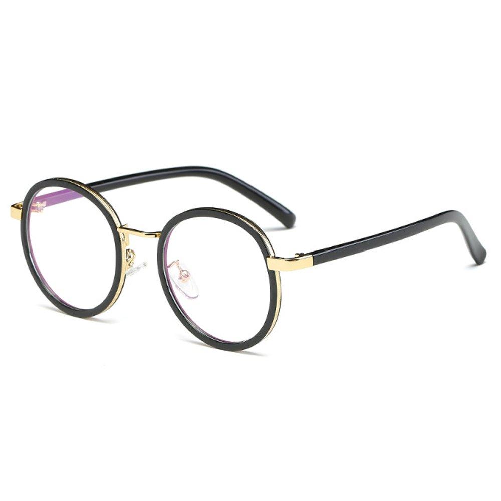 Fantia children Glasses Frame 8-14 Years Old For Gilrs Round Retro Kids eyeglass (Black)