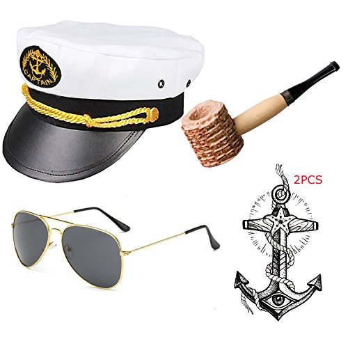 Yacht Captain & Sailor Costume Accessories Set - Hat,Corn Cob Pipe,Aviator Sunglasses,Vintage Anchor Temporary Tattoo (OneSize, C3)