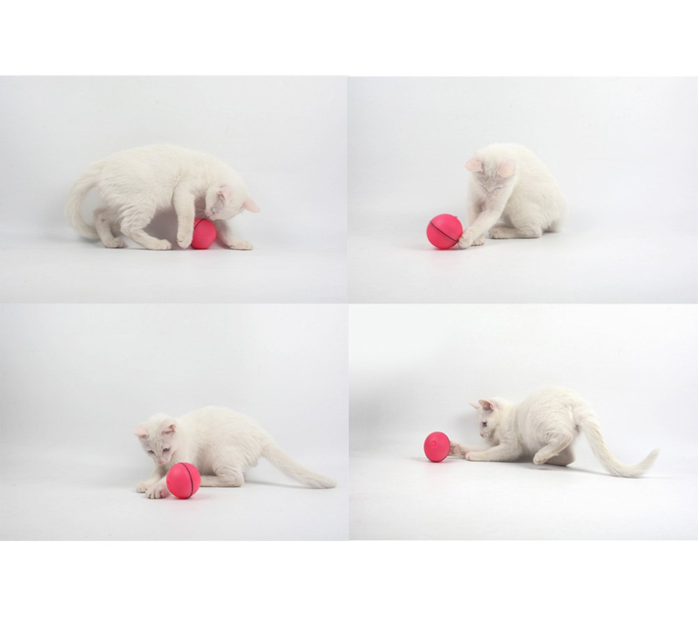 Interactive Cat Toy - 360 Degree Self Rotating Ball Automatic Light Toy For Pet, White and Pink(Batteries Included) (White)