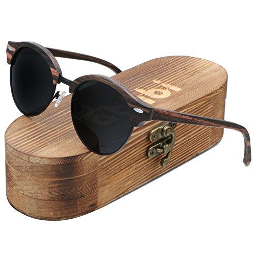Ablibi Mens Ebony Wood Sunglasses Polarized Bamboo Wood Shades in Wood - Black Shades Men In