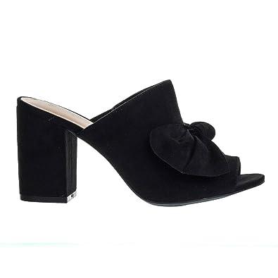 13a8da16ca5 Wild Diva Chunky Block Heel Slip On Mule Sandals w Peep Toe & Oversized Bow