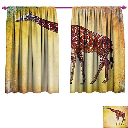 Vintage African Glass - cobeDecor Giraffe Patterned Drape for Glass Door Vintage Style Illustration Watercolor African Animal Wildlife Safari Zoo Retro Art Waterproof Window Curtain W96 x L72 Multicolor