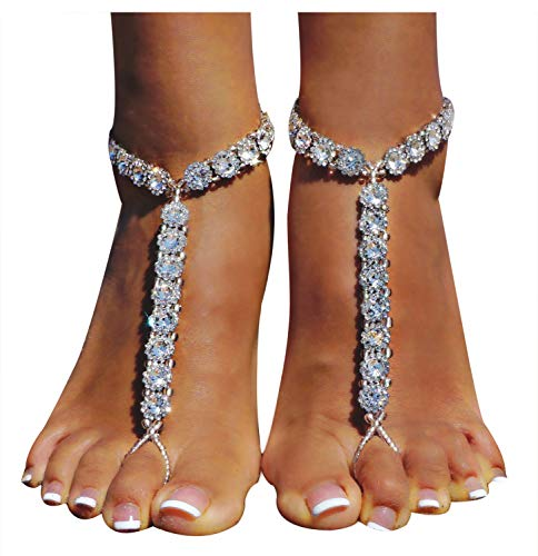 Bellady Beach Wedding Foot Jewelry Anklet Chain Barefoot Sandals 2 Pcs,Silver_Style 4