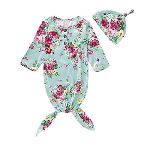 - Newborn Baby Girl Floral Nightgowns Knotted Sleeper Gown Infant Sleepwear Coming Home Outfit with Hat (J-Rose Blue Baby Nightgown,0-6 Months)