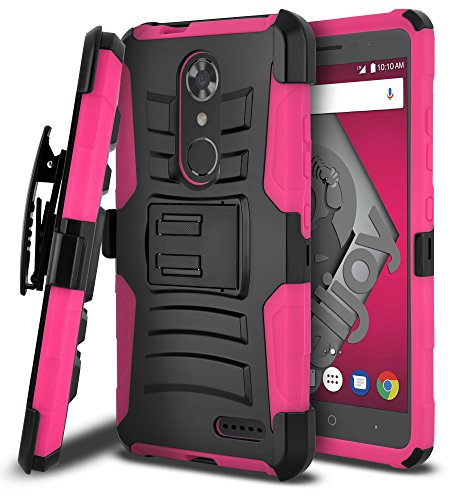 ZTE Max XL Case, ZTE Blade Max 3 Case, CellJoy [Ultra Rugged Hybrid] ((ShockProof)) Reinforced Impact Bumper [Heavy Duty] Protection Cover {Kickstand} [Locking Swivel Belt Clip Holster Combo] (Pink)