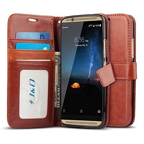 J&D Case Compatible for ZTE Axon 7 Case, [Wallet Stand] [Slim Fit] Heavy Duty Protective Shock Resistant Flip Cover Wallet Case for ZTE Axon 7 Wallet Case - [Not for ZTE Axon 7 Mini] - Brown
