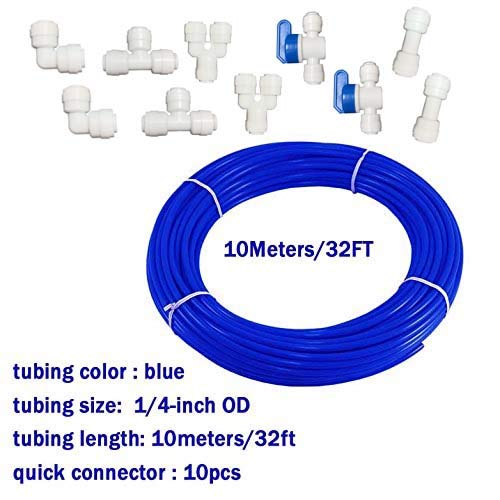 (Malida 1/4 inch RO Water blue Tubing, Hose Pipe for RO Water purifiers System,+quick connector 10pcs. (tubing 10meters))