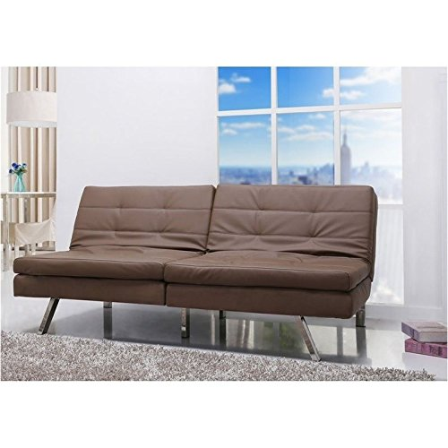 Brika Home Faux Leather Convertible Sofa in Taupe