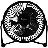 Comix Mini Personal Desktop Fan, 4'', Metal Design, Quiet Operation, Air Radiator for Laptop,USB Cable Powered, Perfect for Office/Home/School, Black (L602)