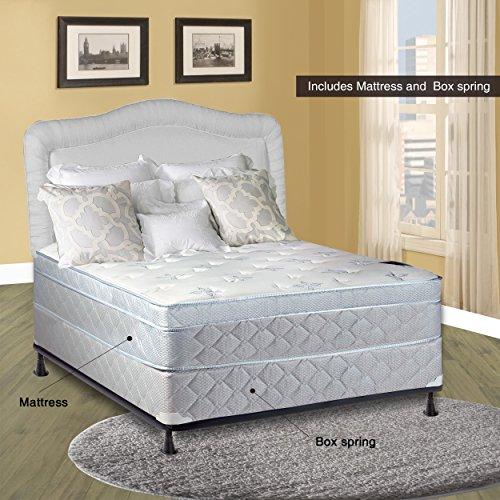 (Spinal Solution, 11-Inch Medium plush Foam Encased Eurotop Pillowtop Innerspring Mattress And Wood Traditional Box Spring/Foundation Set, Good For The Back, No Assembly Required, Twin Size 74