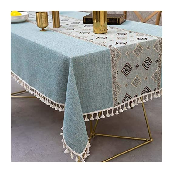 Deep Dream Tablecloth, Embroidered Table Cloth Cotton Linen Wrinkle Free Anti-Fading Tablecloths Washable Dust-Proof Table Cover for Kitchen Dinning Party, 55 x 55 Inch - Blue - 【NON-FADING】: Deep Dream cotton linen tablecloth is dyed with high-quality dyes, which has good dye fixation and is not easy to fade 【ANTI-WRINKLE & ANTI-SHRINK】: This table cloth is made of high quality eco-friendly heavy cotton linen, making it soft and smooth, with exquisite tassels to make your table more beautiful 【EASY TO CARE】: Our table clothes can be hand-washed or gently machine-washed, hand wash best. Tumble dry on low heat or lay flat to dry, very easy to clean, soft and comfortable, no pilling - tablecloths, kitchen-dining-room-table-linens, kitchen-dining-room - 51hjvru t L. SS570  -