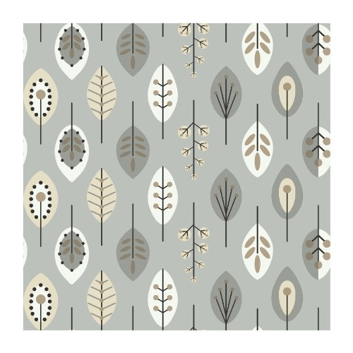 - York Wallcoverings Bistro 750 Retro Leaves Prepasted Removable Wallpaper, Metallic Silver / White / Black