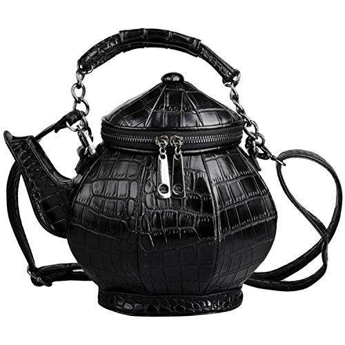 SXELODIE Teapot Shoulder Bag Slanting Handbag, Ladies Pu Kettle Shape Personality Trend
