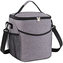 Lunch Bag, Gvoo Thermal Insulated Lunch Box Tote Bag, Waterproof Oxford Cooler Food Handbag with Adjustable Strap, Good for Travel Outdoor Picnic-Large Black