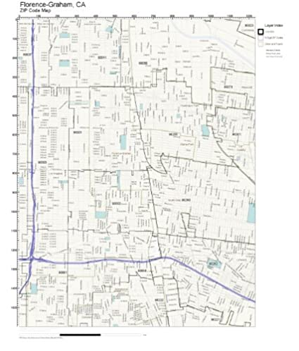 Amazoncom ZIP Code Wall Map of FlorenceGraham CA ZIP Code Map