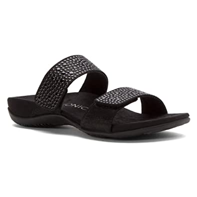 Vionic by Orthaheel Women's Samoa Black Leather Sandals 6 B(M) US RRacf