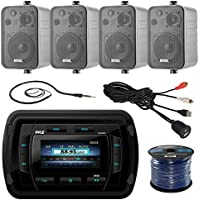 Pyle PATVR14 MP3/MP5 Bluetooth Marine Boat Yacht Stereo Receiver Bundle Combo With 4x Enrock Black 4 200-Watt Waterproof Stereo Box Speaker + Radio Antenna + USB/AUX To RCA Cable + 16G 50-FT Wire