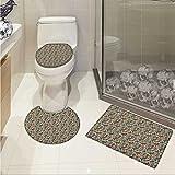 Hippie Toilet carpet floor mat Retro Style Arabian Iranian Flourish Classical Growth Lively Tones Hippie Culture 3 Piece Shower Mat set Multicolor