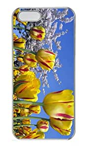 fun case spring yellow tulips PC Transparent Case for iphone 5/5S