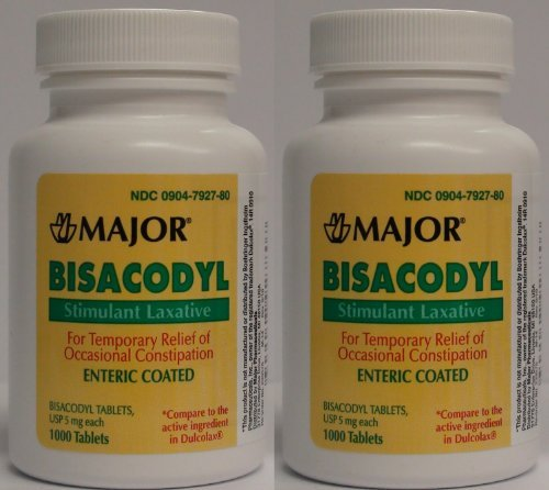 Bisacodyl 5MG Generic for Dulcolax Laxative Coated Tablets Bottle of 1000 ea PACK of 4 Total 4000 Tablets by Major Pharmaceutical