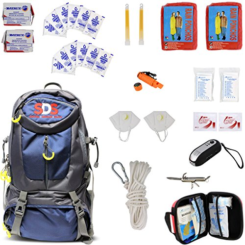 SDS Survival Backpack Emergency Disaster Prepper Gear Bag Food Kit Earthquake, Zombie Apocalypse Supplies 2 Person 72 Hr (Best Food For Bug Out Bag)