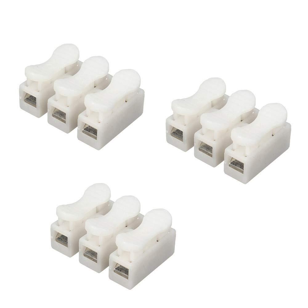 DWE 50 Stü ck CH-2 Federdraht Verbinder Elektrische Kabelklemme Klemmverbinder LED Streifen Lichtdraht Verbindung, weiß