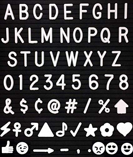 510 Pcs Letter Board Letters Characters Set White Plastic for Changeable Felt Letter Boards, 1 inch Letters, Including Numbers, Symbols for Sign Message Board
