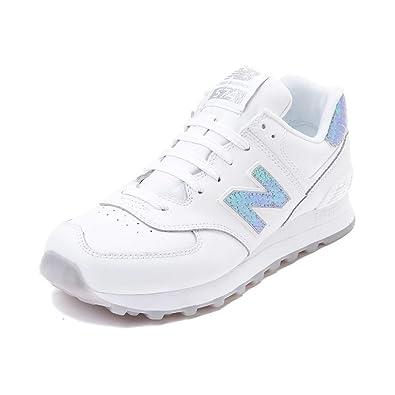 promo code 58a31 60bfa New Balance Women s 574 Fashion Sneaker (Womens 7, White Iridescent 1518)