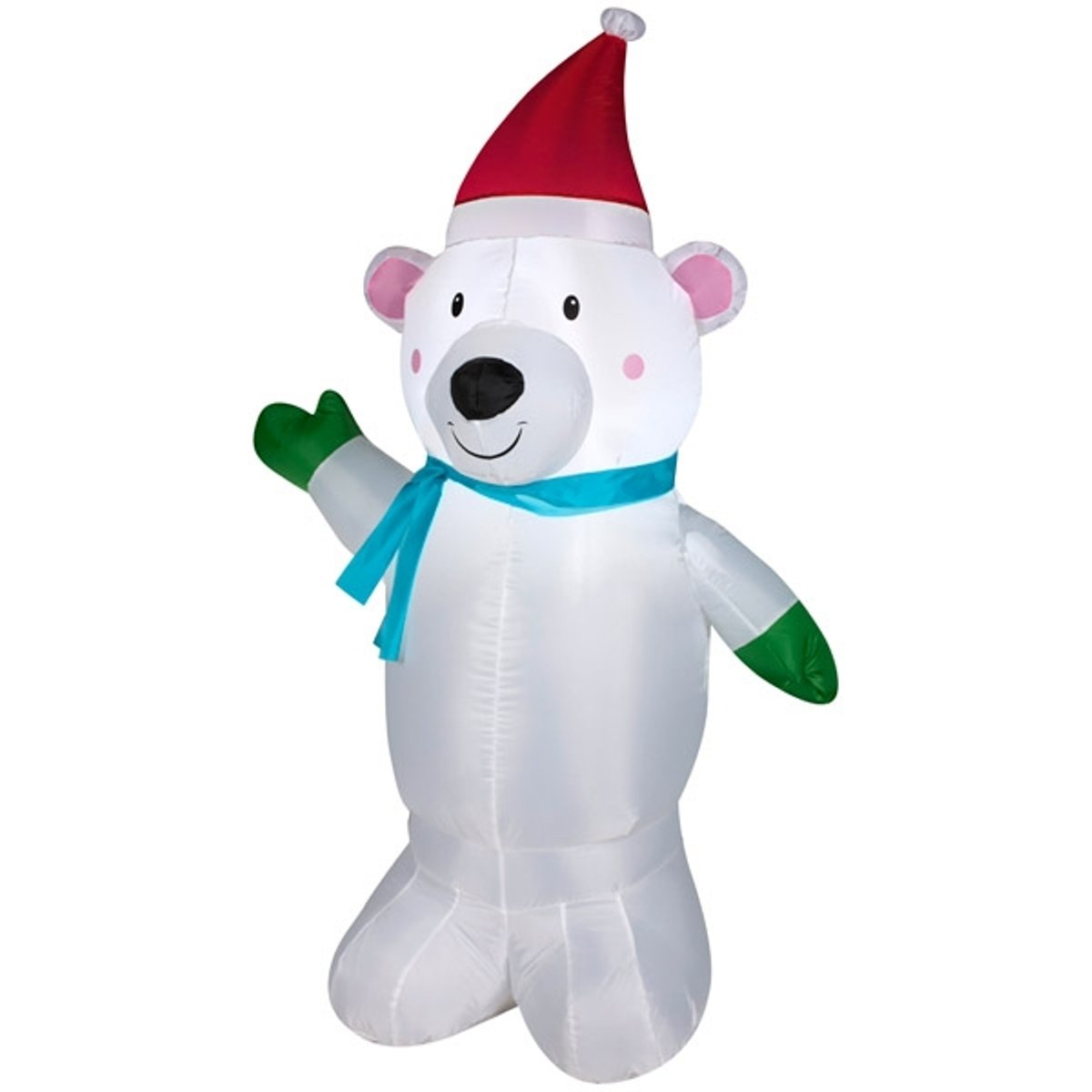 amazoncom gemmy airblown inflatable polar bear wearing santa hat green mittens and a blue scarf holiday indoor outdoor decoration 4 feet tall garden