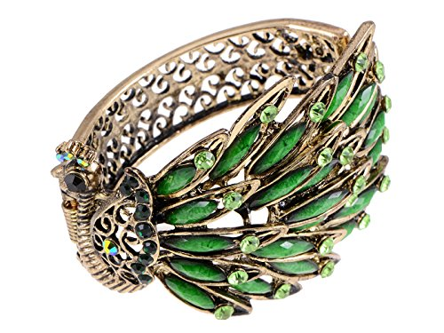 Alilang Womens Antique Golden Tone Peacock Bracelet Bangle with Turquoise Blue Gems (Green)