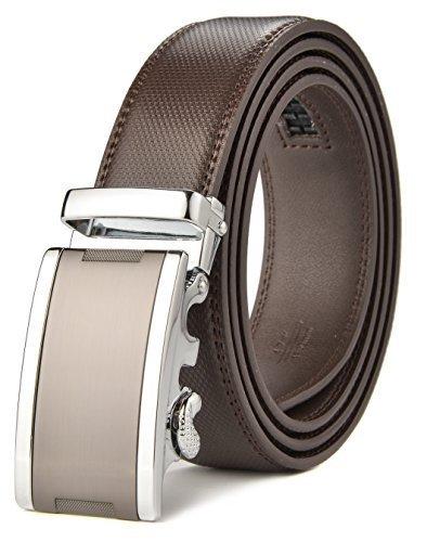 [HW Zone Men's Soft Leather Belt Sliding Buckle Ratchet Belt with Automatic Buckle] (Soft Leather Buckle Belt)