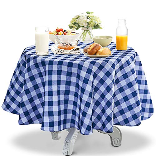 YEMYHOM 100% Polyester Spillproof Tablecloths for Round Tables 60 Inch Indoor Outdoor Camping Picnic Circle Table Cloth (Dark Blue and White Checkered)
