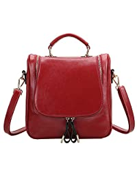 S ZONE Ladies Small Leather Cross Body Handbag Backpack (Burgundy)