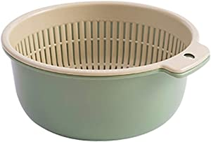 Fine 2 in 1 Kitchen Strainer/Colander Bowl Sets, Large Plastic Washing Bowl and Strainer, Double Layered Drain Basin and Basket,Fruits Vegetables Cleaning Wash Basket
