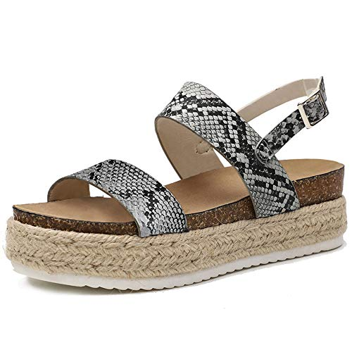 (Chenghe Women's Platform Sandals Casual Espadrilles Flatform Ankle Buckle Strap Open Toe Slingback Summer Sandals Snake US 9.5)