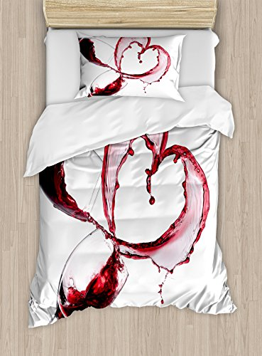 Ambesonne Wine Duvet Cover Set Twin Size, Heart with Spilling Red Wine in Glasses Romantic Love Valentines Day Concept, Decorative 2 Piece Bedding Set with 1 Pillow Sham, Burgundy White Pink