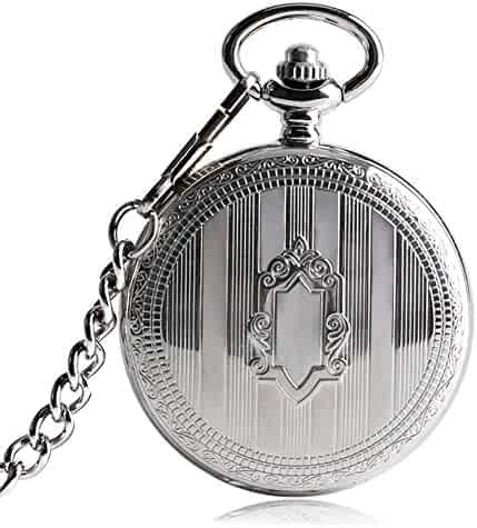 Vintage Pocket Watch, Necklace Stylish Steampunk Shield Pocket Watches for Men,Self Winding Skeleton Pocket Watch Gift Christmas Gift