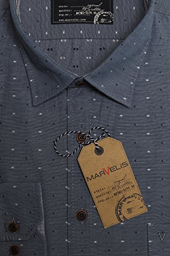 MARVELiS Freizeithemd 6016-64-18 marine langarm