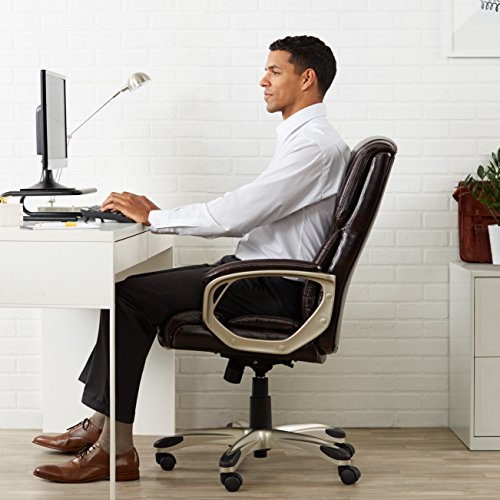 AmazonBasics High-Back Executive Swivel Chair - Brown with Pewter Finish by AmazonBasics (Image #1)